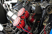 Mar. 9, 2012; Gainesville, FL, USA; Detailed view of the magnitos on the engine in the car of NHRA top fuel dragster driver T.J. Zizzo during qualifying for the Gatornationals at Auto Plus Raceway at Gainesville. Mandatory Credit: Mark J. Rebilas-