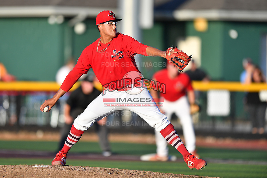 Johnson City Cardinals starting pitch Francisco Justo (4) delivers a pitch during game two of the Appalachian League, West Division Playoffs against the Bristol Pirates at TVA Credit Union Ballpark on August 31, 2019 in Johnson City, Tennessee. The Cardinals defeated the Pirates 7-4 to even the series at 1-1. (Tony Farlow/Four Seam Images)