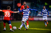 9th January 2021; Kenilworth Road, Luton, Bedfordshire, England; English FA Cup Football, Luton Town versus Reading; Sone Aluko of Reading reaches for the ball with Morrell of Luton