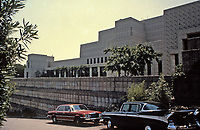 Frank Lloyd Wright:  Ennis-Brown House, Los Angeles.  Surrounded by textile block walls. Photp 1976.