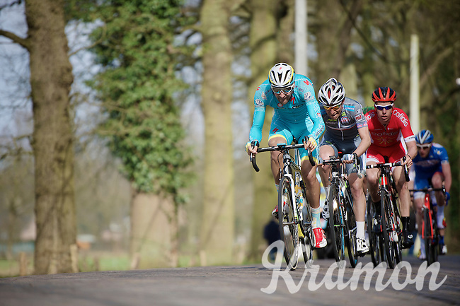 """With 2 laps to go, Laurens De Vreese (BEL/Astana) & compagnons still have 40"""" over the peloton as they hit the local cobbled section<br /> <br /> 103rd Scheldeprijs 2015"""