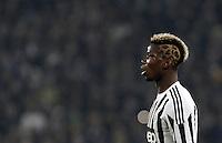Juventus' Paul Pogba reacts during the Italian Serie A football match between Juventus and Roma at Juventus Stadium.