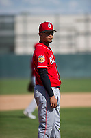 Cincinnati Reds third baseman Juan Martinez (65) during an Instructional League game against the Oakland Athletics on September 29, 2017 at Lew Wolff Training Complex in Mesa, Arizona. (Zachary Lucy/Four Seam Images)
