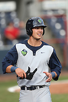 Grant Heyman #32 of the Hillsboro Hops during a game against the Vancouver Canadians at Nat Bailey Stadium on July 24, 2014 in Vancouver, British Columbia. Hillsboro defeated Vancouver, 7-3. (Larry Goren/Four Seam Images)