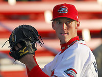 10 April 2007: Eric Beattie of the Greenville Drive, Class A affiliate of the Boston Red Sox, during a game against the Columbus Catfish.  Photo by:  Tom Priddy/Four Seam Images