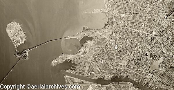 historical aerial photograph Oakland, California, 1970