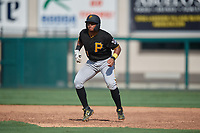 Pittsburgh Pirates Geovanny Planchat (71) leads off during a Florida Instructional League game against the Detroit Tigers on October 16, 2020 at Joker Marchant Stadium in Lakeland, Florida.  (Mike Janes/Four Seam Images)