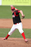 Batavia Muckdogs pitcher Chase Reid during a game vs. the Auburn Doubledays at Dwyer Stadium in Batavia, New York September 5, 2010.   Batavia defeated Auburn 7-0 in the regular season finale.  Photo By Mike Janes/Four Seam Images