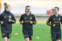 20190304 - LARNACA , CYPRUS :  Belgian Elena Dhont , Jody Vangheluwe and Shari Van Belle pictured during a women's soccer game between Nigeria and the Belgian Red Flames , on Monday 4 th March 2019 at the GSZ Stadium in Larnaca , Cyprus . This is the third and last game in group C for both teams during the Cyprus Womens Cup 2019 , a prestigious women soccer tournament as a preparation on the Uefa Women's Euro 2021 qualification duels. PHOTO SPORTPIX.BE | DAVID CATRY