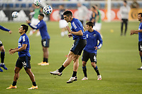 SAN JOSE, CA - SEPTEMBER 13: Cristian Espinoza #10 of the San Jose Earthquakes goes up for a header during warmups before a game between Los Angeles Galaxy and San Jose Earthquakes at Earthquakes Stadium on September 13, 2020 in San Jose, California.