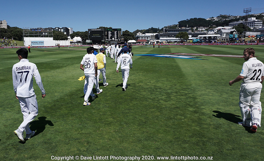 The teams shake hands at the end of day four of the International Test Cricket match between the New Zealand Black Caps and India at the Basin Reserve in Wellington, New Zealand on Monday, 24 February 2020. Photo: Dave Lintott / lintottphoto.co.nz