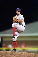 Auburn Doubledays relief pitcher Jeremy McKinney (36) delivers a pitch during a game against the Batavia Muckdogs on July 6, 2017 at Dwyer Stadium in Batavia, New York.  Auburn defeated Batavia 4-3.  (Mike Janes/Four Seam Images)