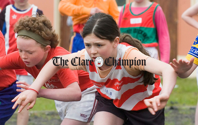 Aoibheann Malone of Kilnaboy gets ready for the starters whistle at the Clare Track and Field championships at Mullagh. Photograph by John Kelly.