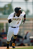 GCL Pirates Deion Walker (6) runs to first base during a Gulf Coast League game against the GCL Red Sox on August 1, 2019 at Pirate City in Bradenton, Florida.  GCL Red Sox defeated the GCL Pirates 11-3.  (Mike Janes/Four Seam Images)