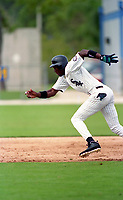 Chicago White Sox Michael Jordan (45) running the bases during 1994 Spring Training at the Ed Smith Stadium Complex in Sarasota, Florida.  (Tyler Bolden/Four Seam Images)