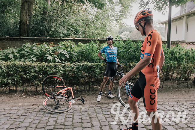 """Stijn Devolder (BEL/Veranda's Willems - Crelan) & Jonas Koch (DEU/CCC - Sprandi Polkowice) getting to know each other a bit more closely then wanted<br /> <br /> Antwerp Port Epic 2018 (formerly """"Schaal Sels"""")<br /> One Day Race:  Antwerp > Antwerp (207 km; of which 32km are cobbles & 30km is gravel/off-road!)"""