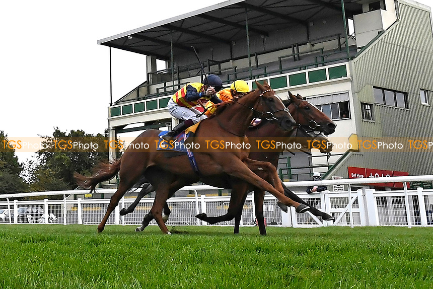 Winner of The British EBF Novice Stakes Second Slip (yellow cap ) ridden by George Wood and trained by James Fanshawe during Horse Racing at Salisbury Racecourse on 11th September 2020