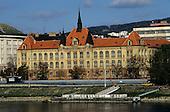 Bratislava, Slovakia. Stredna Priemyselna Skola Strojnicka Mechanical Engineering school, Fajnorovo Embankment.