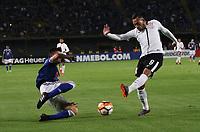BOGOTÁ -COLOMBIA, 28-02-2018: Cristian Huerfano (Izq) de Millonarios de Colombia disputa el balón con Maycon (Der.) de  Corinthias de Brasil  durante partido por La Copa Conmebol Libertadores 2018 , grupo 7  ,jugado en el estadio Nemesio Camacho El Campín de la ciudad de Bogotá./ Cristian Huerfano(Left) of Millonarios  of Colombia disputes the ball with Maycon (Der.) of Corinthias of Brazil during match  by the Conmebol Libertadores Cup 2018, group 7, played in Nemesio Camacho El Campín stadium of the Bogota  city. Photo: VizzorImage/ Felipe Caicedo / Staff