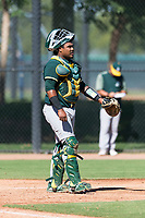 Oakland Athletics catcher Santis Sanchez (44) during an Instructional League game against the Los Angeles Dodgers at Camelback Ranch on September 27, 2018 in Glendale, Arizona. (Zachary Lucy/Four Seam Images)