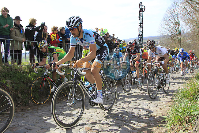 The peloton including Tom Boonen (BEL) Omega Pharma-Quickstep climbs Koppenberg during the 96th edition of The Tour of Flanders 2012, running 256.9km from Bruges to Oudenaarde, Belgium. 1st April 2012. <br /> (Photo by Eoin Clarke/NEWSFILE).