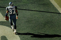 Sep 25, 2005; Seattle, WA, USA; Seattle Seahawks running back #37 Shaun Alexander walks through the end zone after scoring his fourth touchdown of the game against the Arizona Cardinals in the third quarter at Qwest Field. Mandatory Credit: Photo By Mark J. Rebilas