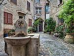 """Courtyard with fountain, known as """"La Placette"""", Saint Paul de Vence"""