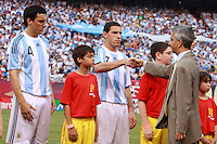 US Soccer Federation president Sunil Gulati shakes hands with Argentina midfielder Maximiliano Rodriguez (7). The men's national teams of the United States and Argentina played to a 0-0 tie during an international friendly at Giants Stadium in East Rutherford, NJ, on June 8, 2008.