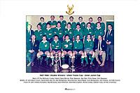 1987-1988   Double Winners - Ulster Towns Cup - Ulster Junior Cup<br /> <br /> Back L-R: Paul McQuoid, Crosby Cleland, David Morrow, Peter Magowan, Alan Reid, Philip Gregg, Colin Magowan. <br /> Middle L-R: John Boyd (Coach), David Dodd, Alan Hill, Alan Montgomery, David Donnan, David Napier, Colin Montgomery, John Dickson, Ian Kidd (Coach).<br /> Front L-R: John O'Kane (President), Ray McCavery, David Workman, David Rea (Captain), Ronnie Crosby, Graham Furey, Jim Kirk (Chairman).