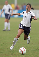 June 26, 2005; Virginia Beach, VA, USA;  USWNT midfielder Shannon Boxx (7) moves to the ball while playing Canada at the Virginia Beach SportsPlex.  The USWNT won, 2-0.