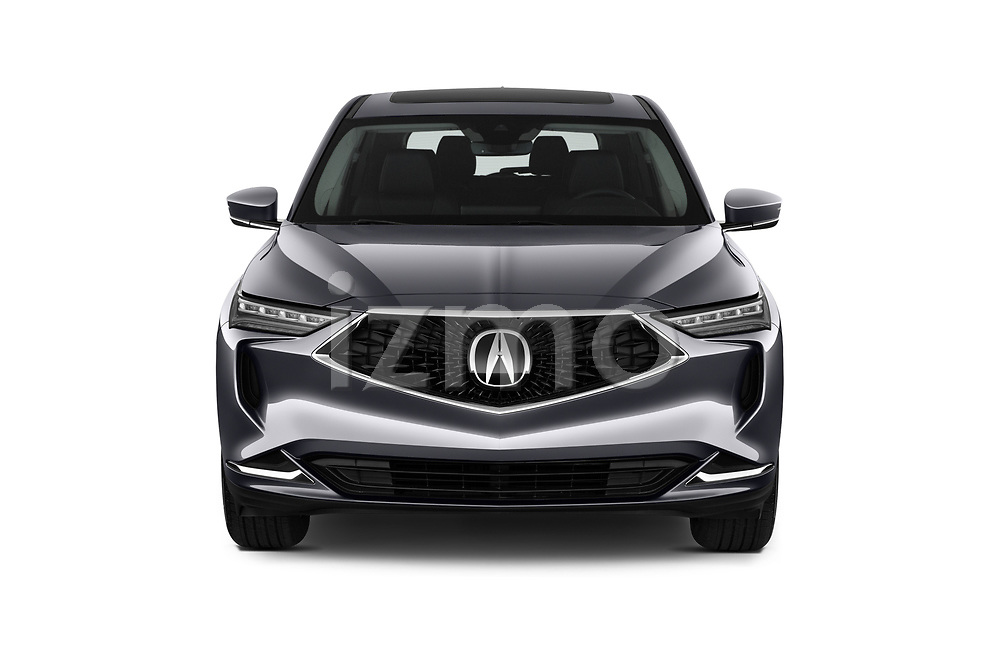 Car photography straight front view of a 2022 Acura MDX - 5 Door SUV Front View