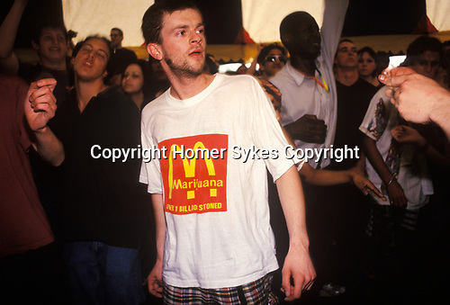 Marijuana T shirt. Legalise Pot march and rally Clapham Common London 1980s. UK