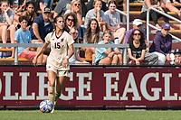 NEWTON, MA - SEPTEMBER 12: Samantha Agresti #15 of Boston College looks to pass during a game between Holy Cross and Boston College at Newton Campus Soccer Field on September 12, 2021 in Newton, Massachusetts.