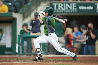 Tyler Benson (1) of the Fort Wayne TinCaps follows through on his swing against the West Michigan Whitecaps at Parkview Field on August 5, 2019 in Fort Wayne, Indiana. The TinCaps defeated the Whitecaps 9-3. (Brian Westerholt/Four Seam Images)