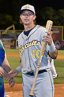 Montgomery Biscuits right fielder Tyler Motter #10 receives the Top Star Award after the Southern League All Star game at AT&T Field on June 17, 2014 in Chattanooga, Tennessee. The Southern Division defeated the Northern Division 6-4. (Tony Farlow/Four Seam Images)