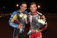 2nd placed Lewis Bridger and 3rd placed Andreas Jonsson - Lee Richardson Memorial at the Arena Essex Raceway, Pufleet - 28/09/12 - MANDATORY CREDIT: Rob Newell/TGSPHOTO - Self billing applies where appropriate - 0845 094 6026 - contact@tgsphoto.co.uk - NO UNPAID USE.