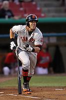 Adam Duvall #39 of the San Jose Giants bats against the High Desert Mavericks at Stater Bros. Stadium on April 9, 2012 in Adelanto,California. High Desert defeated San Jose 6-5.(Larry Goren/Four Seam Images)