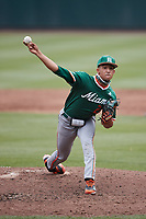 Miami Hurricanes starting pitcher Alejandro Rosario (24) in action against the North Carolina Tar Heels at Boshamer Stadium on April 23, 2021 in Chapel Hill, North Carolina. (Andy Mead/Four Seam Images)