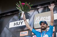 Alejandro Valverde (ESP/Movistar) on podium after finishing 2nd place.<br /> <br /> 82nd La Flèche Wallonne 2018<br /> 1 Day Race: Seraing - Huy (198,5km)
