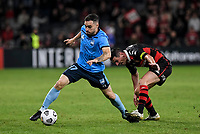 1st May 2021; Bankwest Stadium, Parramatta, New South Wales, Australia; A League Football, Western Sydney Wanderers versus Sydney FC; Anthony Caceres of Sydney goes past Graham Dorrans of Western Sydney Wanderers