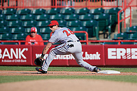 Richmond Flying Squirrels first baseman Gio Brusa (28) stretches for a throw during an Eastern League game against the Erie SeaWolves on August 28, 2019 at UPMC Park in Erie, Pennsylvania.  Richmond defeated Erie 6-4 in the first game of a doubleheader.  (Mike Janes/Four Seam Images)