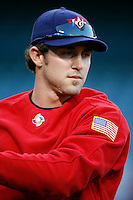 Chase Utley of the USA during the World Baseball Championships at Angel Stadium in Anaheim,California on March 13, 2006. Photo by Larry Goren/Four Seam Images