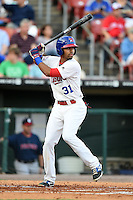 Buffalo Bisons outfielder Dalton Pompey (31) at bat during a game against the Pawtucket Red Sox on August 23, 2014 at Coca-Cola Field in Buffalo, New  York.  Buffalo defeated Pawtucket 15-2.  (Mike Janes/Four Seam Images)