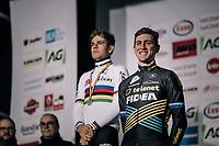 Toon Aerts (BEL/Telenet Fidea Lions) beats World Champion Wout Van Aert (BEL/Cibel-Cebon) to become the new Belgian National Champion<br /> <br /> Elite Men's Race<br /> Belgian National CX Championschips<br /> Kruibeke 2019
