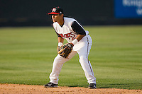Second baseman Jose Castro #2 of the Carolina Mudcats on defense against the Jacksonville Suns at Five County Stadium May 15, 2010, in Zebulon, North Carolina.  Photo by Brian Westerholt /  Seam Images