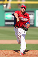 Philadelphia Phillies pitcher Phillippe Aumont #43 delivers a pitch during a scrimmage against the Florida State Seminoles at Brighthouse Field on February 29, 2012 in Clearwater, Florida.  Philadelphia defeated Florida State 6-1.  (Mike Janes/Four Seam Images)