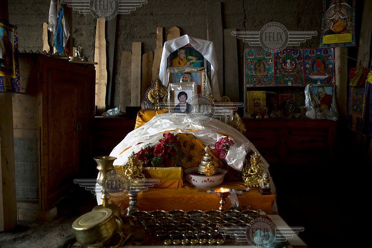 A shrine for Gongbu Tserang in his family home. An ethnic Tibetan, Gongbu Tserang self-immolated himself on 13 November 2012 in a protest against the polices of the Chinese Governement..