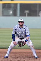 Brian MacDonald (23) of the Hofstra Pride in the field during a game against the UCLA Bruins at Jackie Robinson Stadium on March 14, 2015 in Los Angeles, California. UCLA defeated Hofstra, 18-1. (Larry Goren/Four Seam Images)