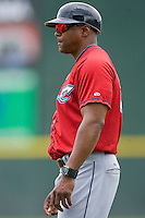 Columbus Clippers hitting coach Lee May Jr. #30 in the first base coaches box during a game against the Charlotte Knights at Knights Stadium May 25, 2010, in Fort Mill, South Carolina.  Photo by Brian Westerholt / Four Seam Images