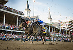 LOUISVILLE, KY - MAY 07: Mohaymen #14, ridden by Junior Alvarado, battles for 4th in Kentucky Derby Stakes at Churchill Downs on May 07, 2016 in Louisville, Kentucky.(Photo by Alex Evers/Eclipse Sportswire/Getty Images)